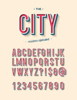 Tipografia cool alfabeto moderno della città