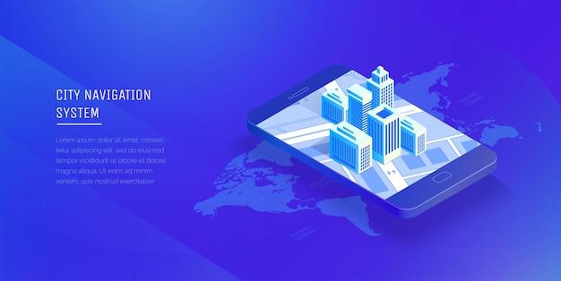 Sistema di navigazione della città smart city in un telefono cellulare applicazione mobile per la navigazione stile isometrico di illustrazione vettoriale moderna