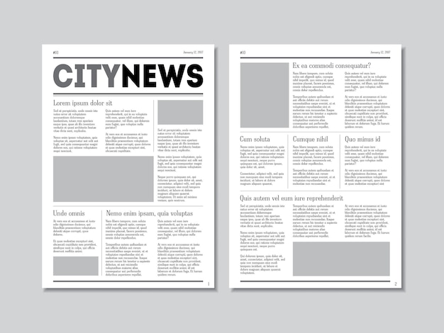 Notizie della città con intestazioni su una superficie grigia