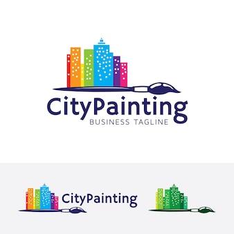 Modello di logo di vettore di pittura della città