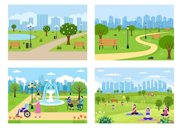 Illustrazione del parco cittadino per persone che praticano sport, relax, gioco o ricreazione con albero verde e prato. paesaggio urbano di sfondo