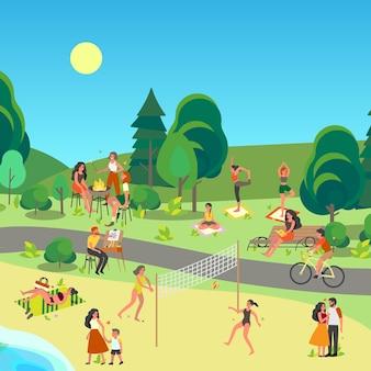 Paesaggio del parco cittadino. persone che amano stare fuori, fare sport e riposare nel parco cittadino. attività estiva, picnic nel parco. scenario estivo con cielo blu.