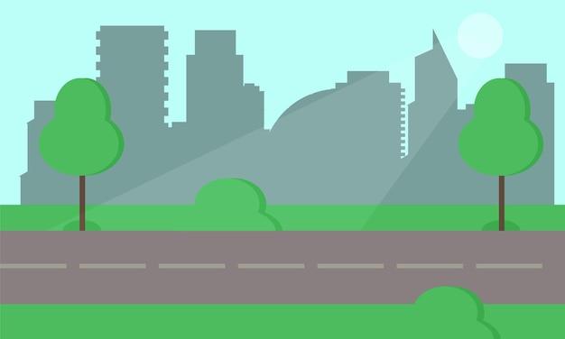 Parco cittadino e alberi. illustrazione di stile piatto. sullo sfondo il centro della città d'affari con grattacieli e grandi edifici. vegetazione del parco verde nel centro di una grande città