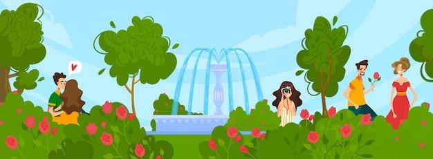 Parco cittadino con fontana e gente che cammina nell'illustrazione di estate.