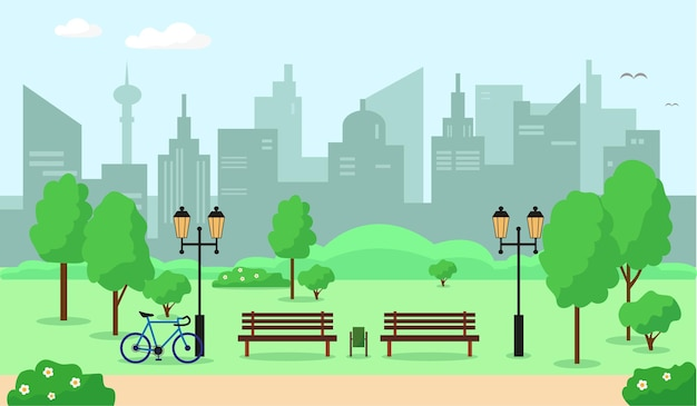 Parco cittadino con alberi, panchina, fiori ed edifici. paesaggio primaverile o estivo.