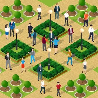 Parco cittadino con alberi e persone che camminano vacanzieri stile di vita scena urbana isometrica 3d illustrazione per l'industria del design e dei giochi
