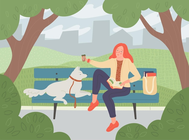 Parco cittadino. la donna beve il tè e legge il libro sulla panchina. ragazza con cane all'aperto.