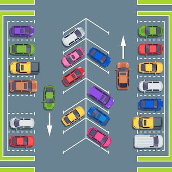 Vista dall'alto del parcheggio della città. spazi del parco per le automobili, illustrazione della zona di parcheggio dell'automobile