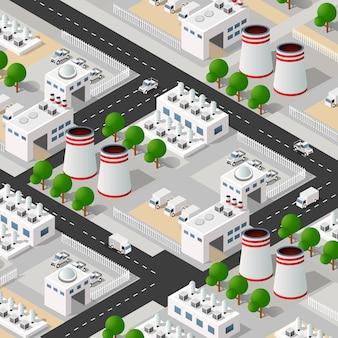Gli elementi di progettazione urbana isometrica industriale della fabbrica della pianta della città modellano il design industriale di concetto urbano