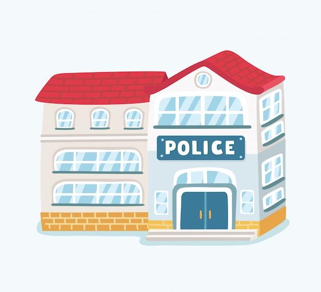 Edificio del dipartimento della stazione di polizia della città nel paesaggio con il poliziotto e la macchina della polizia in stile su priorità bassa bianca