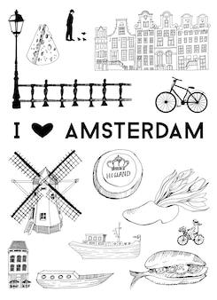 Poster della città di amsterdam. insieme di vettore dei punti di riferimento