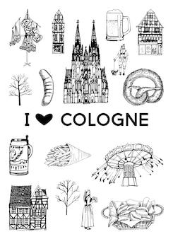 Poster della città di colonia. insieme di vettore dei punti di riferimento