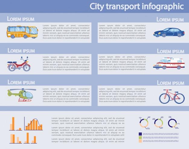 Set di infografica di trasporto pubblico e privato della città.