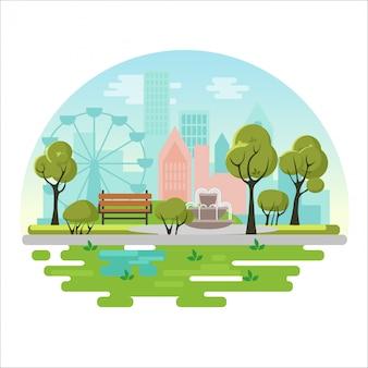 Manifesto di concetto dell'illustrazione di vettore del parco pubblico della città con panca, alberi, fontana, piante sul fondo della città moderna. paesaggio verde eco
