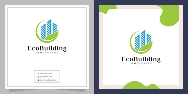 Design del logo della foglia della città e degli immobili