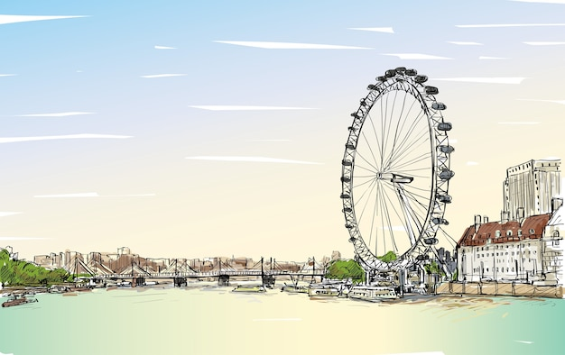 City scape drawing london eye and bridge, river, illustration