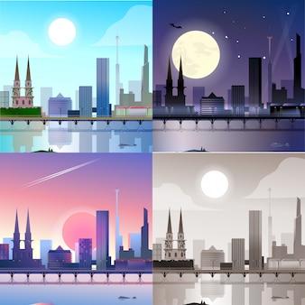 Insieme di vista di tramonto di luce della luna di notte di luce del giorno di scena dei grattacieli dei monumenti storici della città scape.