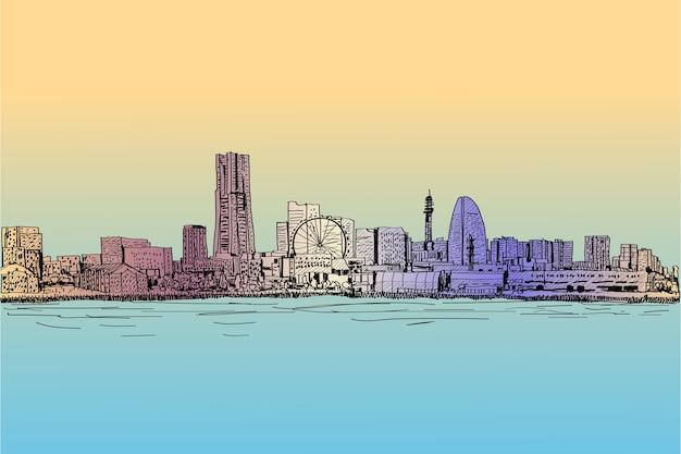 Skyline della città scape di yokohama in giappone disegno a mano libera e illustrazione