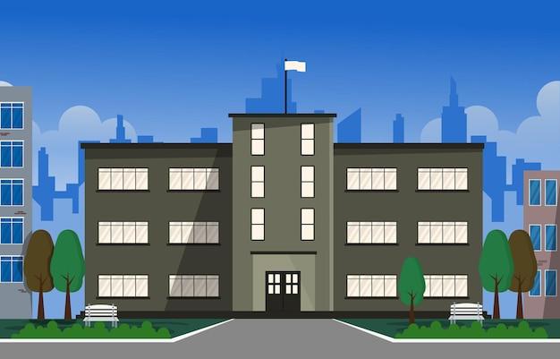 Città scuola edificio studio apprendimento educazione illustrazione vettoriale