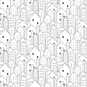 Il modello senza cuciture della città in bianco e nero è struttura ripetitiva.