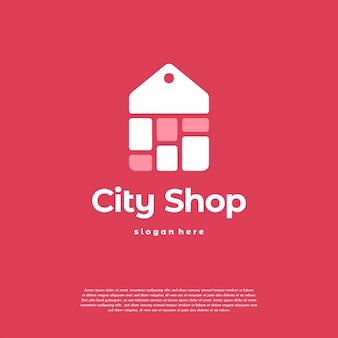 Il logo del negozio cittadino progetta il vettore del concetto, il logo del cartellino del prezzo dello shopping, il modello del logo del negozio online online