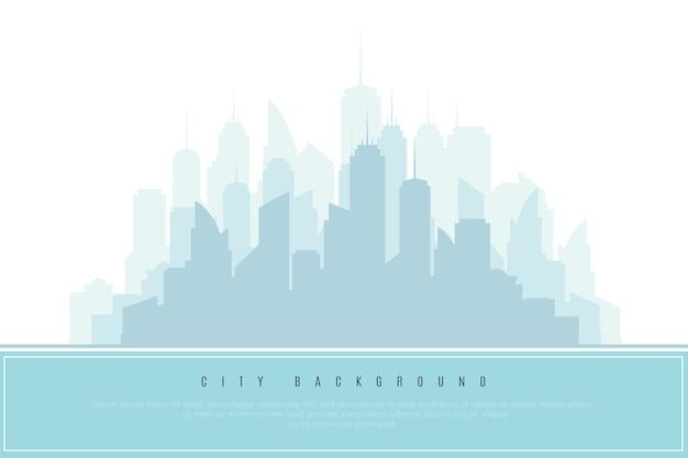 Silhouette della città in azzurro. elemento di design architettonico, illustrazione vettoriale