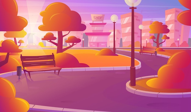 Orizzonte della città, paesaggio tramonto arancione. bellissimo paesaggio urbano, vista serale. parco urbano, edifici, illustrazione vettoriale.