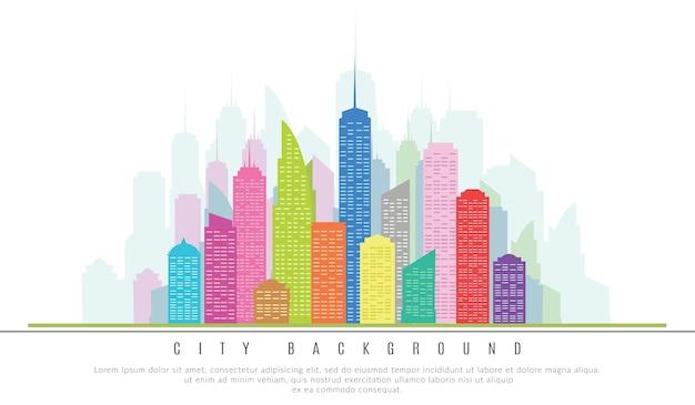 Grattacieli di città nei colori. illustrazione vettoriale di architectural design element