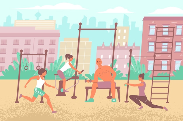 Composizione nel campo sportivo cittadino con paesaggio urbano piatto all'aperto e attrezzatura da palestra con persone che eseguono esercizi di allenamento illustrazione