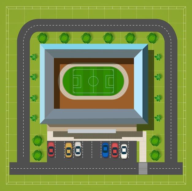 Stadio cittadino con un'autostrada con vista dall'alto di auto e alberi