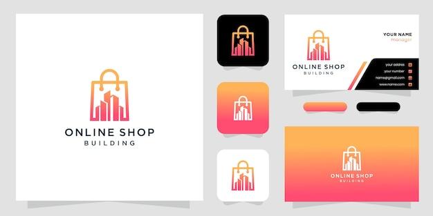 Città negozio simbolo modello disegno vettoriale, logo e modello di biglietto da visita