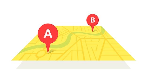Mappa stradale della città con pin gps e percorso di navigazione da indicatori di punto a a b. schema di posizione dell'illustrazione isometrica di vista prospettica di colore giallo vettoriale