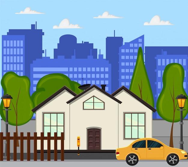 Strada cittadina con una nuova casa a un piano. stile cartone animato. illustrazione.