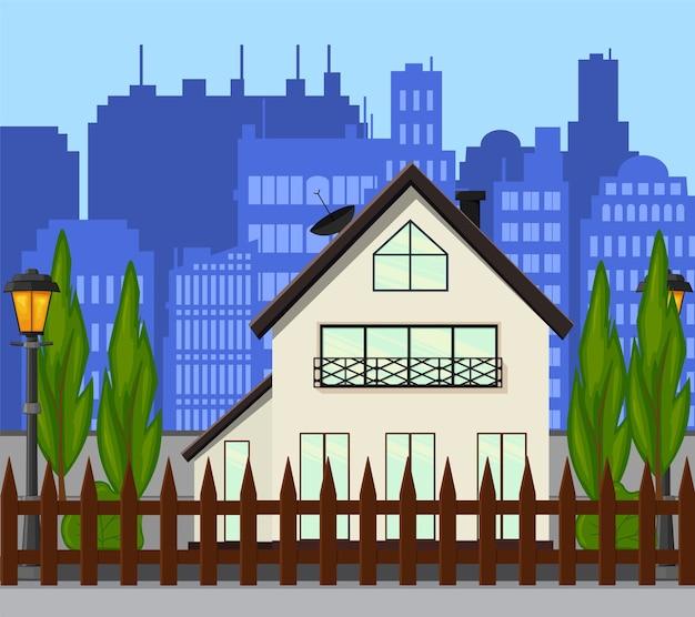 Strada cittadina con una nuova casa a un piano. stile cartone animato.