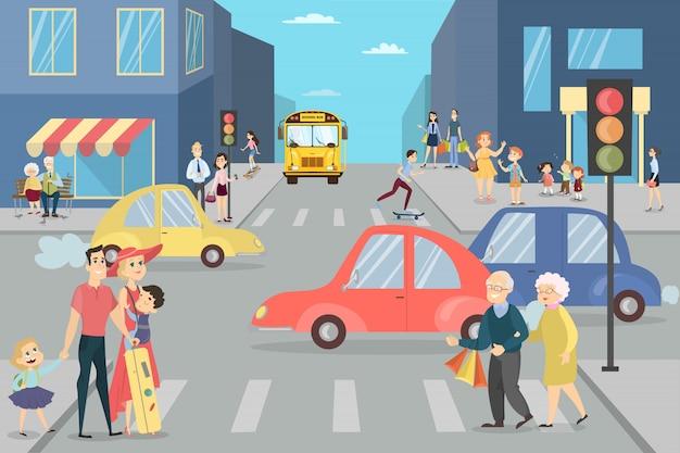 Strada cittadina con persone. genitori con bambini, ragazzi e adulti.