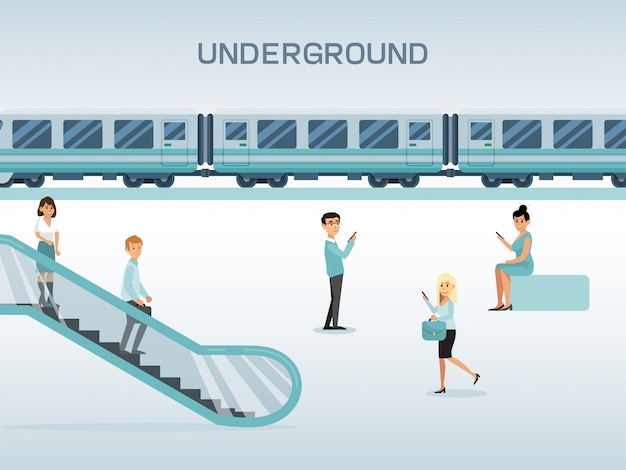 Stazione della metropolitana della città, scala mobile femminile maschio di uso del carattere e treno aspettante, illustrazione piana di concetto.