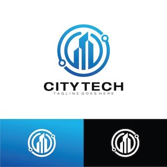 Modello di logo di città tech