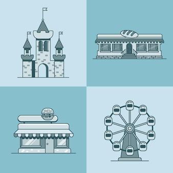 Città città architettura castello ruota panoramica panificio fast food restaurant cafe building set