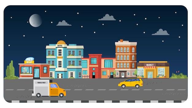 Priorità bassa del cielo notturno di paesaggio dell'illustrazione della costruzione della città della città