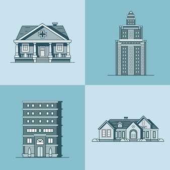 Insieme della costruzione pubblica di architettura della casa di città della città