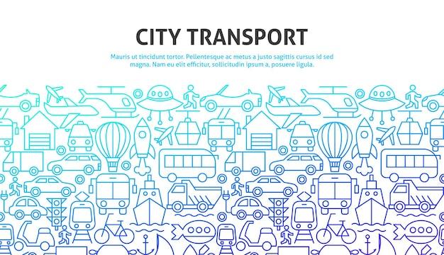 Concetto di trasporto urbano. illustrazione di vettore del disegno del profilo.