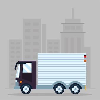 Carico di consegna del camion di trasporto della città