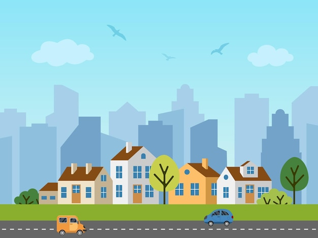 Paesaggio urbano della città. panorama di cottage davanti ai grattacieli. uccelli nel cielo, macchine sulla strada.