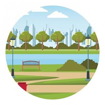 Città parco urbano lago