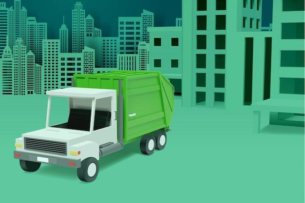 Città urbana concetto di servizio di pulizia del veicolo sanitario con camion della spazzatura.