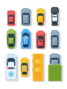Set piatto vista dall'alto di veicoli di città. ambulanza, macchina della polizia, taxi. sportcar, camion, berlina. trasporto urbano moderno.