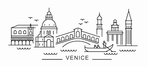 Città di venezia in stile contorno su bianco