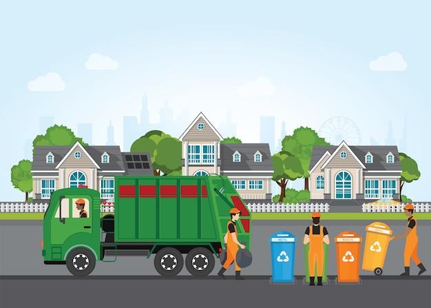 Concetto di riciclaggio dei rifiuti della città con camion della spazzatura e netturbino