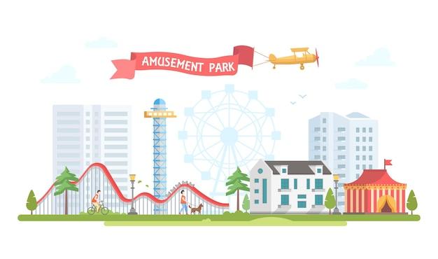 Città con parco divertimenti - illustrazione vettoriale di stile moderno design piatto su sfondo urbano. vista incantevole con circo, grande ruota, montagne russe, case, gente che cammina. concetto di intrattenimento