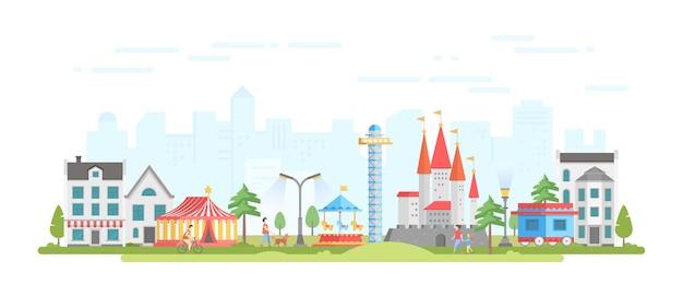 Città con parco divertimenti - illustrazione vettoriale di stile moderno design piatto su sfondo urbano. bella vista con circo, giostra, castello, case, gente che cammina. concetto di intrattenimento